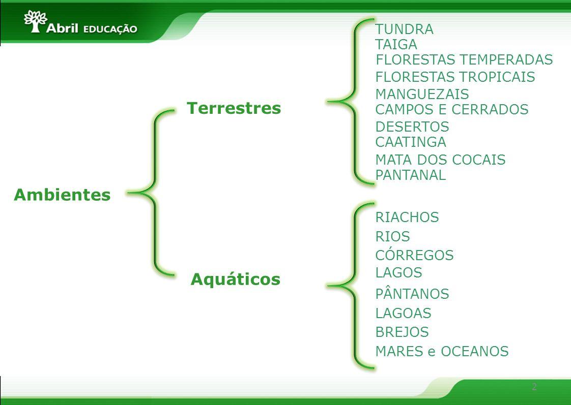 Terrestres Ambientes Aquáticos TUNDRA TAIGA FLORESTAS TEMPERADAS