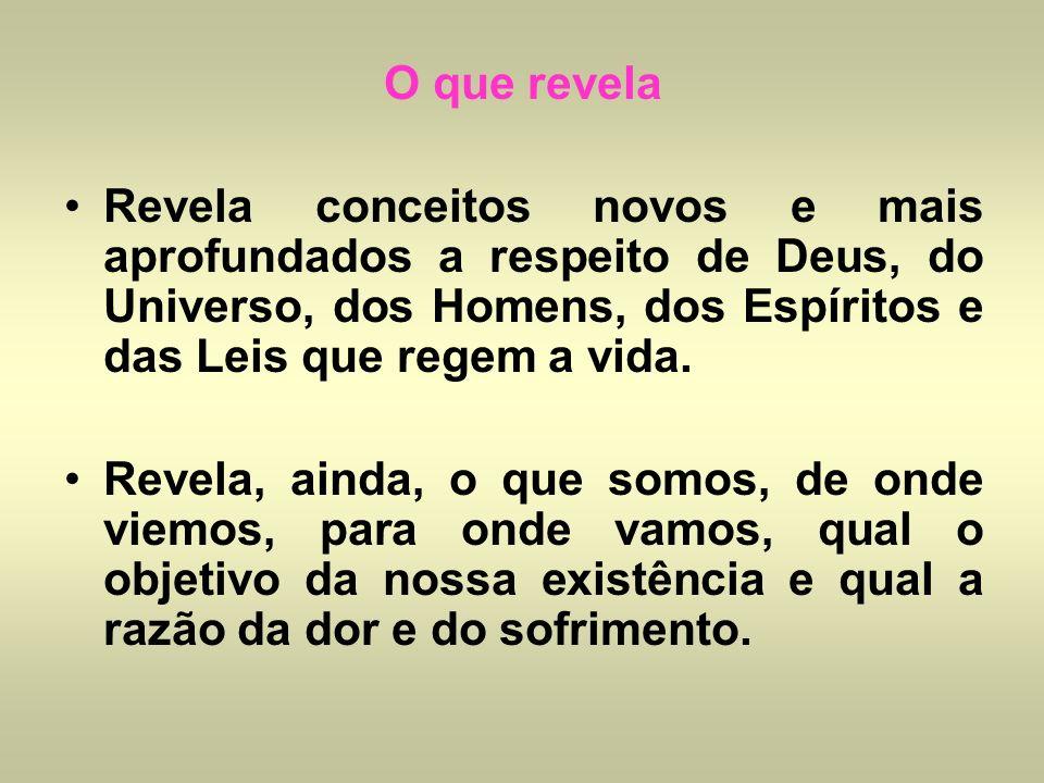 O que revelaRevela conceitos novos e mais aprofundados a respeito de Deus, do Universo, dos Homens, dos Espíritos e das Leis que regem a vida.
