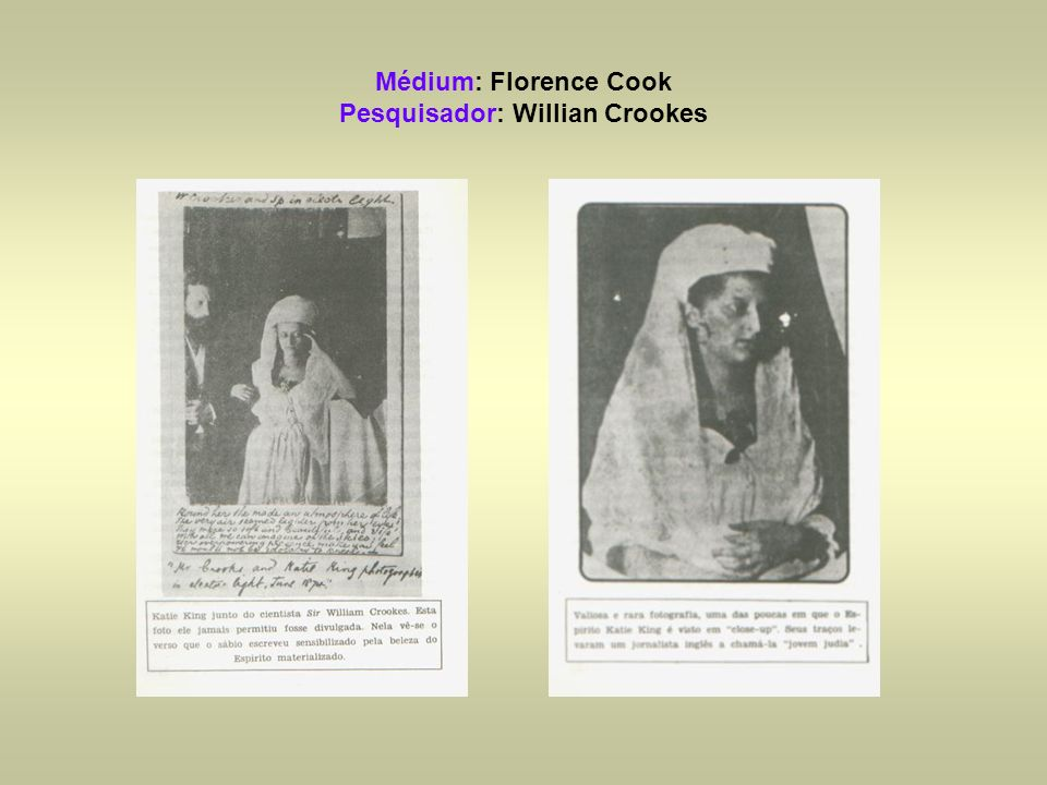Médium: Florence Cook Pesquisador: Willian Crookes