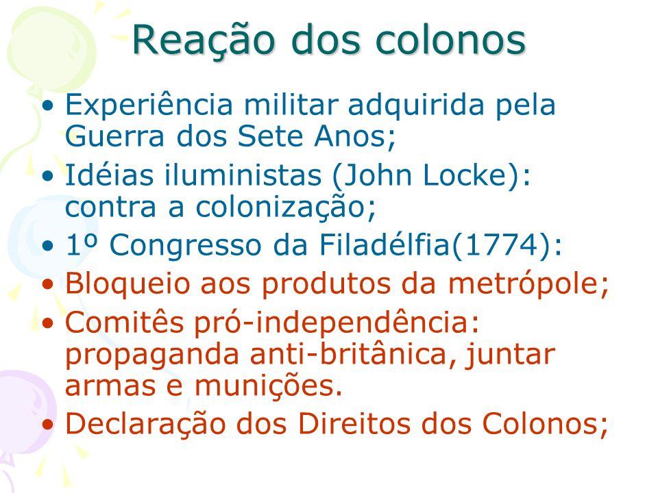 Reação dos colonos Experiência militar adquirida pela Guerra dos Sete Anos; Idéias iluministas (John Locke): contra a colonização;
