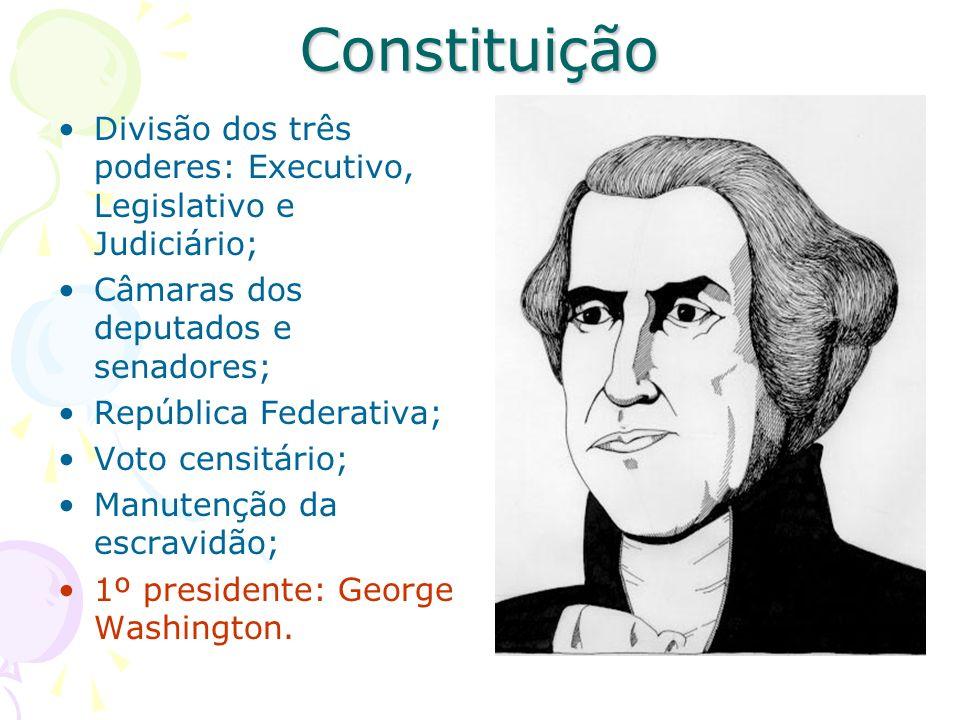 Constituição Divisão dos três poderes: Executivo, Legislativo e Judiciário; Câmaras dos deputados e senadores;