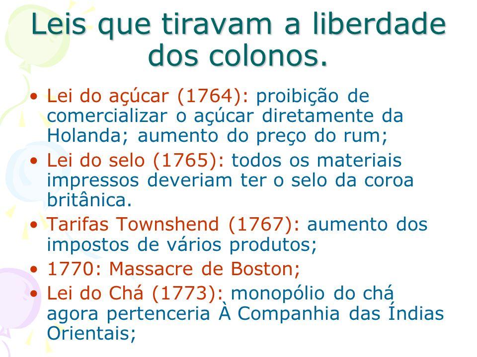 Leis que tiravam a liberdade dos colonos.