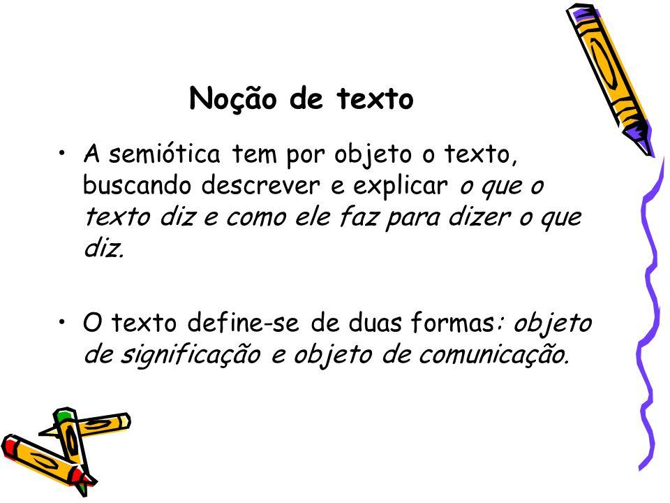 Noção de texto A semiótica tem por objeto o texto, buscando descrever e explicar o que o texto diz e como ele faz para dizer o que diz.