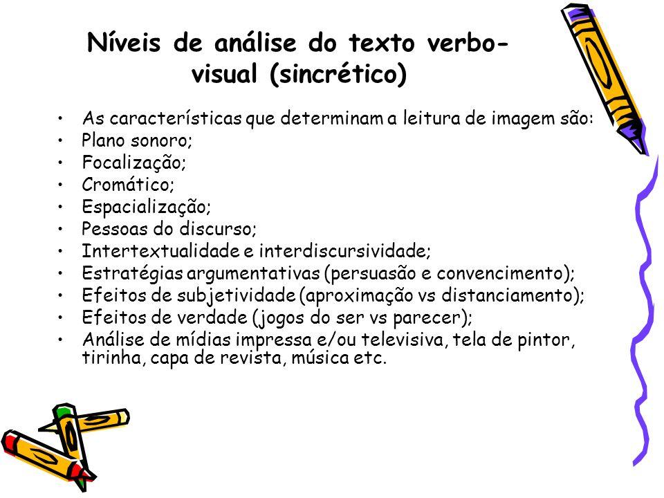 Níveis de análise do texto verbo-visual (sincrético)