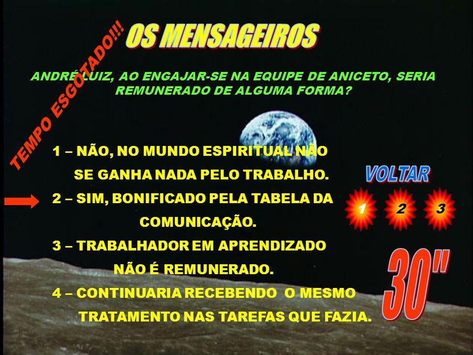 OS MENSAGEIROS 30 TEMPO ESGOTADO!!! 1 – NÃO, NO MUNDO ESPIRITUAL NÃO