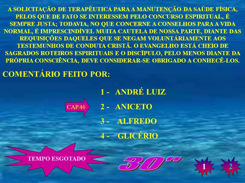 30 COMENTÁRIO FEITO POR: 1 - ANDRÉ LUIZ 2 - ANICETO 3 - ALFREDO