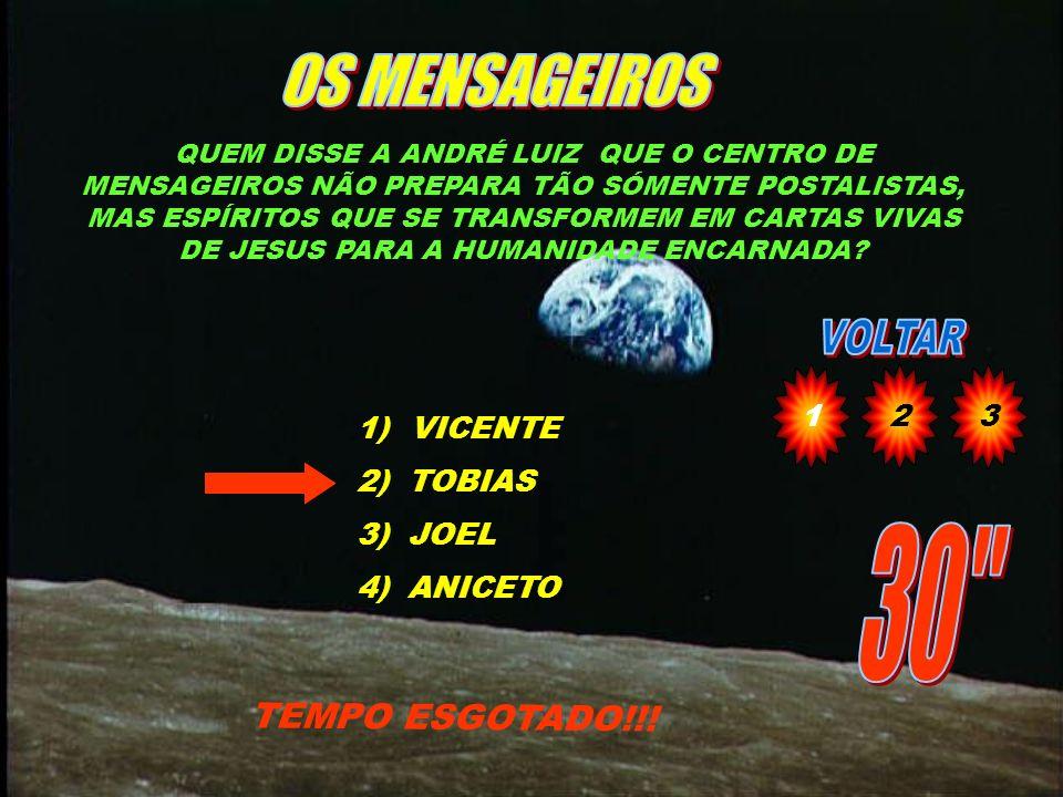 OS MENSAGEIROS 30 TEMPO ESGOTADO!!! 1 2 3 VICENTE 2) TOBIAS 3) JOEL