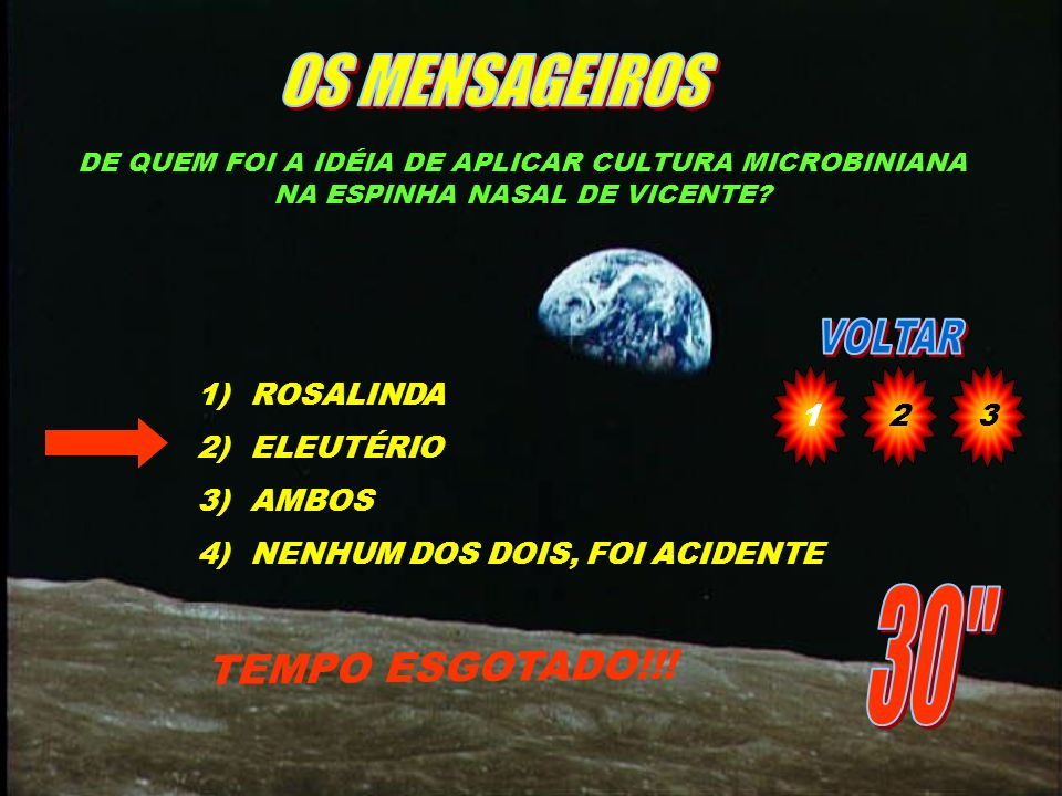 OS MENSAGEIROS 30 TEMPO ESGOTADO!!! 1 2 3 ROSALINDA ELEUTÉRIO AMBOS