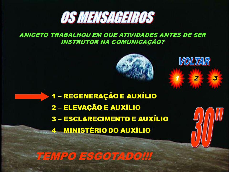 OS MENSAGEIROS 30 TEMPO ESGOTADO!!! 1 2 3 1 – REGENERAÇÃO E AUXÍLIO