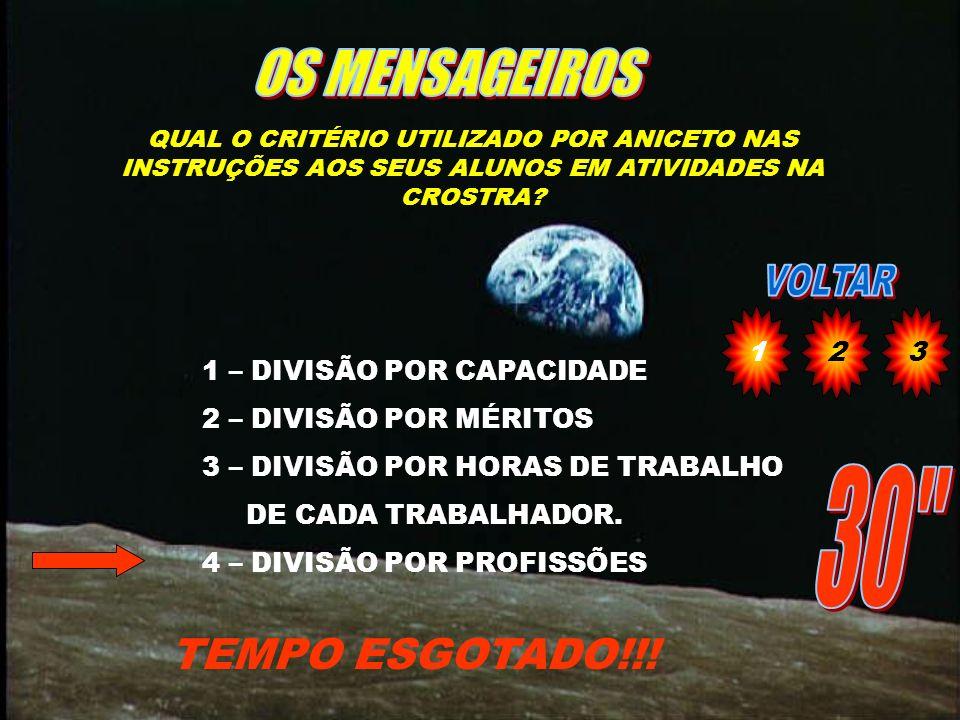 OS MENSAGEIROS 30 TEMPO ESGOTADO!!! 1 2 3 1 – DIVISÃO POR CAPACIDADE