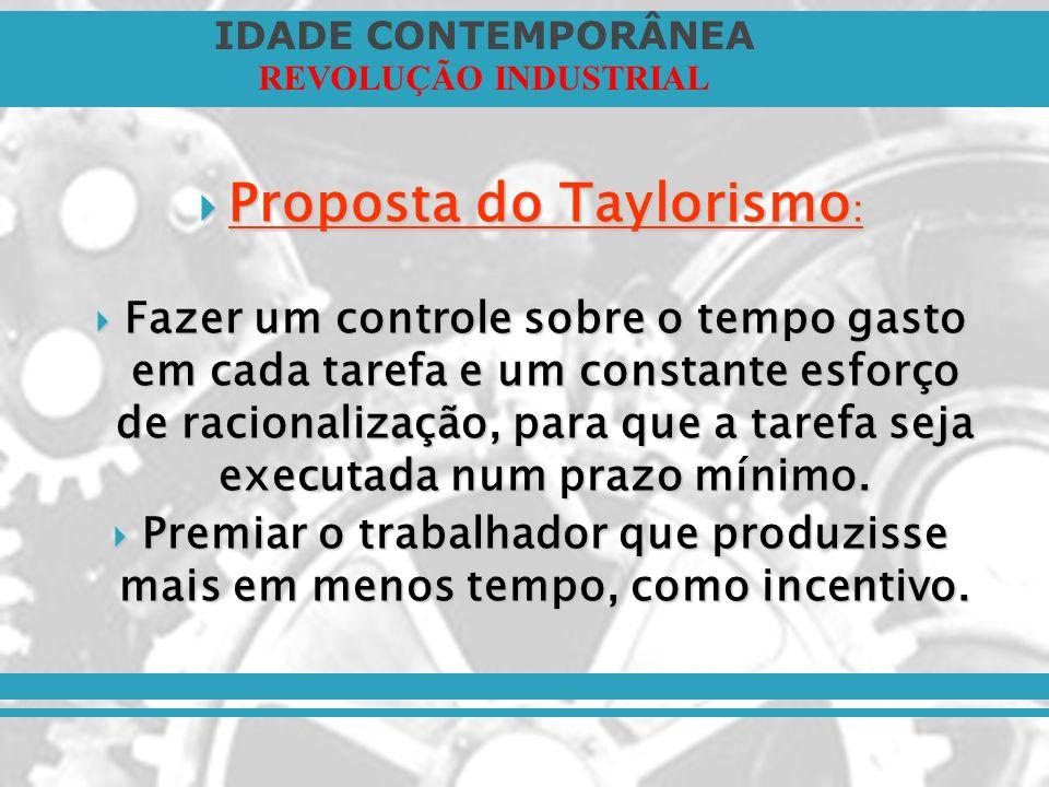 Proposta do Taylorismo: