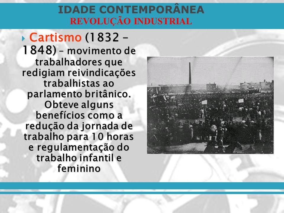 Cartismo (1832 – 1848) – movimento de trabalhadores que redigiam reivindicações trabalhistas ao parlamento britânico.