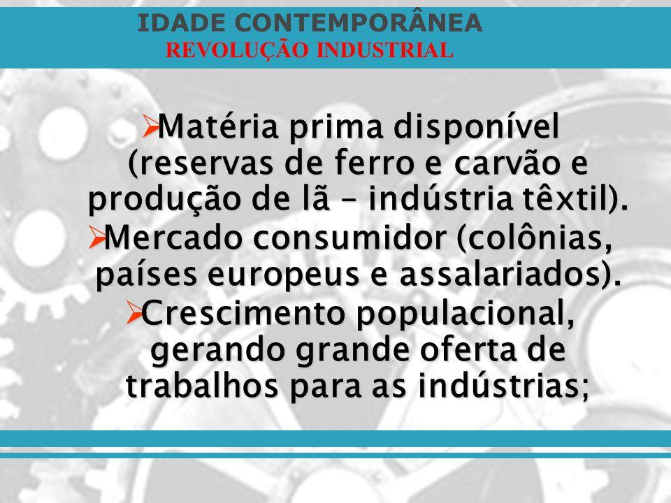 Mercado consumidor (colônias, países europeus e assalariados).