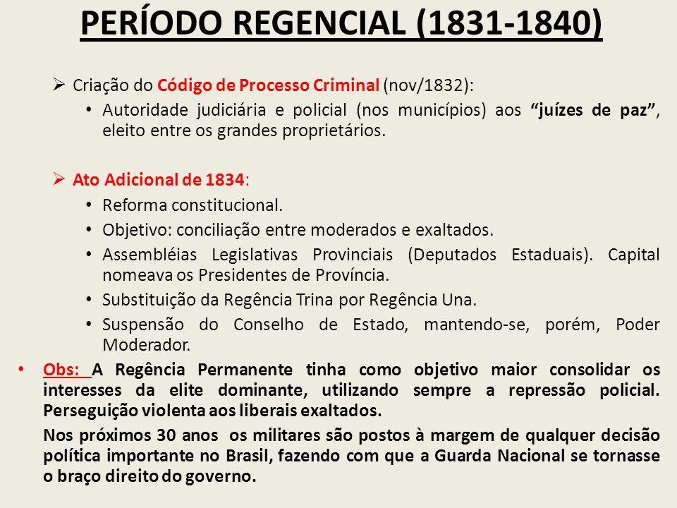 PERÍODO REGENCIAL (1831-1840) Criação do Código de Processo Criminal (nov/1832):