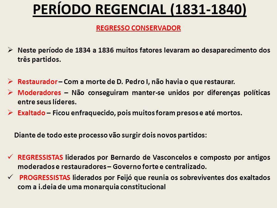 PERÍODO REGENCIAL (1831-1840) REGRESSO CONSERVADOR