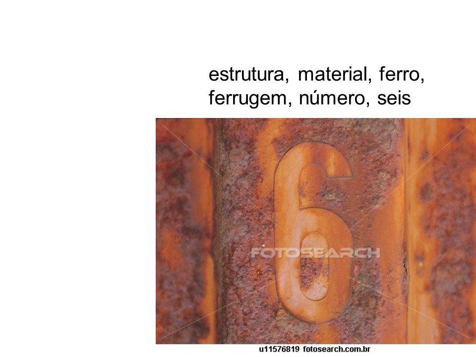 estrutura, material, ferro, ferrugem, número, seis