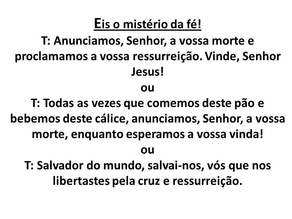 Eis o mistério da fé. T: Anunciamos, Senhor, a vossa morte e proclamamos a vossa ressurreição.