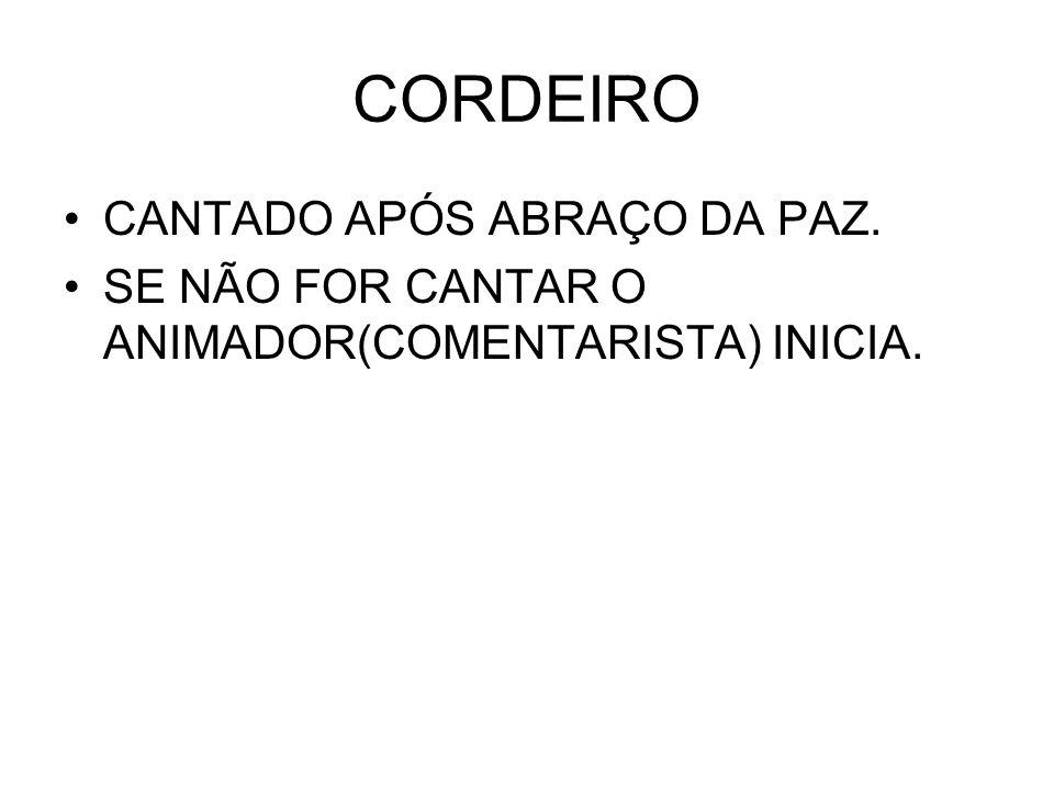 CORDEIRO CANTADO APÓS ABRAÇO DA PAZ.