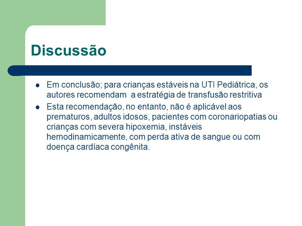 Discussão Em conclusão; para crianças estáveis na UTI Pediátrica, os autores recomendam a estratégia de transfusão restritiva.