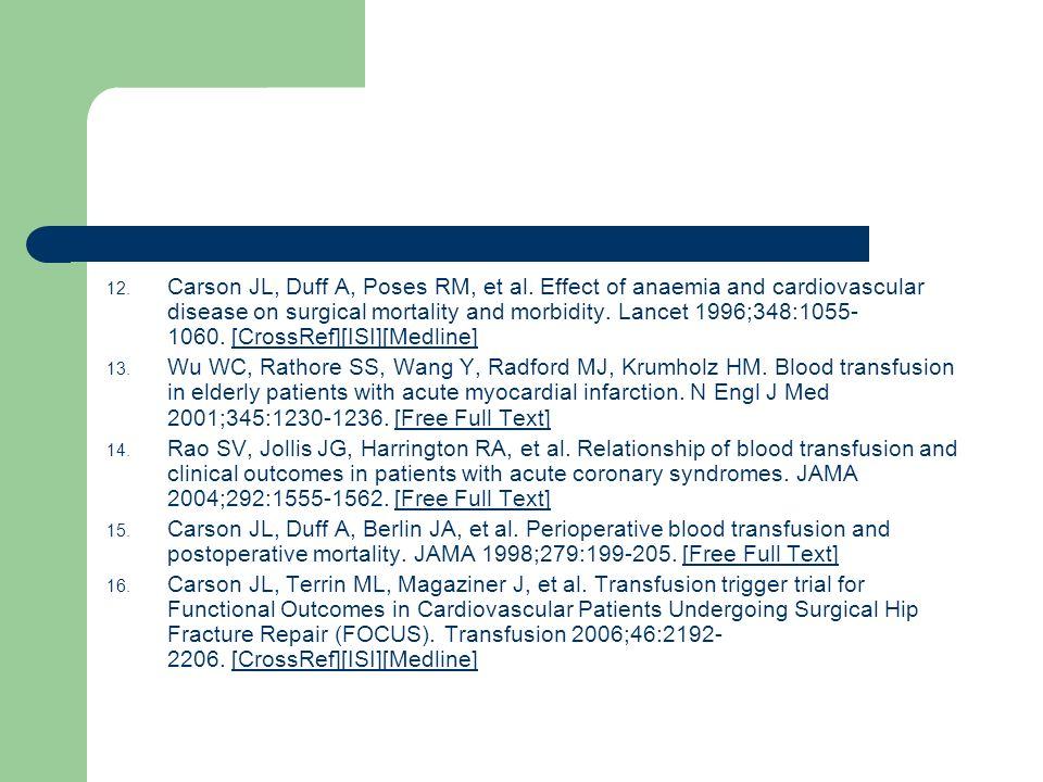 Carson JL, Duff A, Poses RM, et al