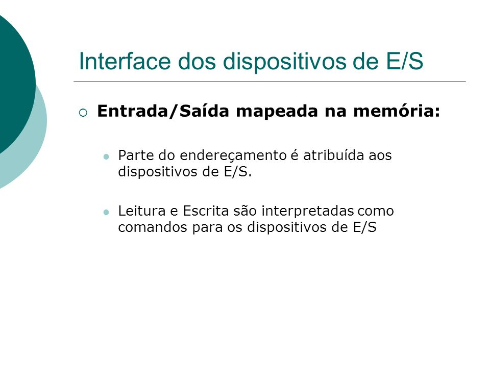 Interface dos dispositivos de E/S