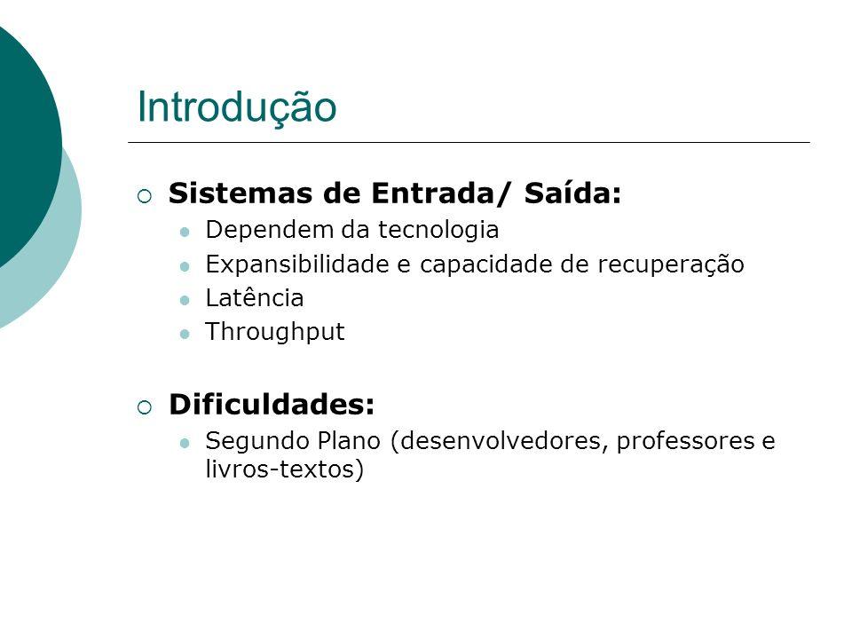 Introdução Sistemas de Entrada/ Saída: Dificuldades: