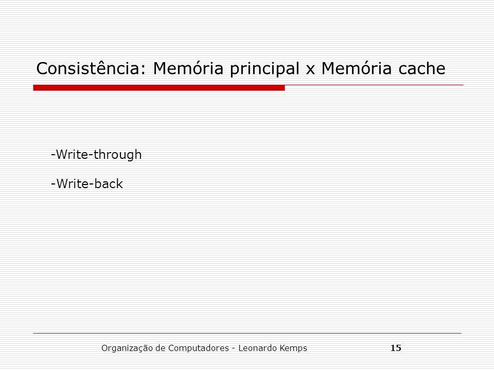 Consistência: Memória principal x Memória cache