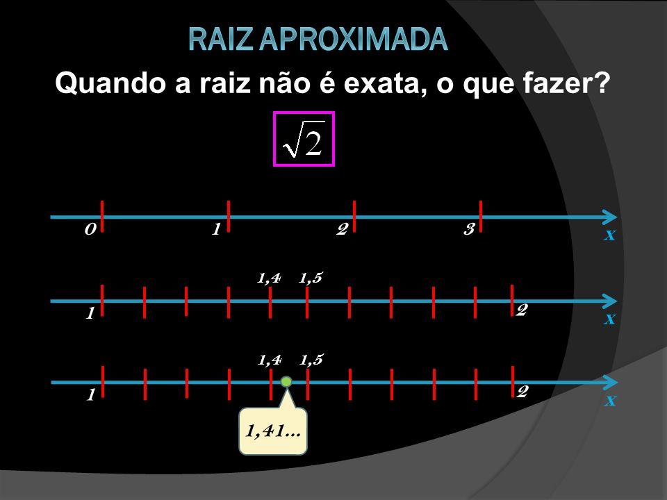 Raiz aproximada Quando a raiz não é exata, o que fazer 1 2 3 x 1 2 x