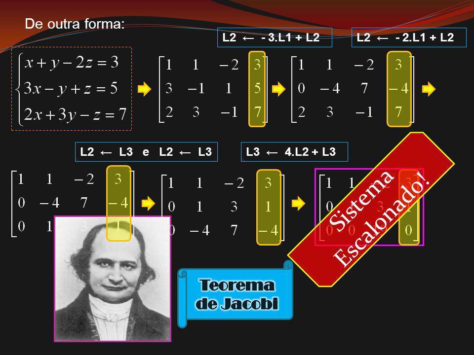 Sistema Escalonado! Teorema de Jacobi De outra forma: L2 ← - 3.L1 + L2