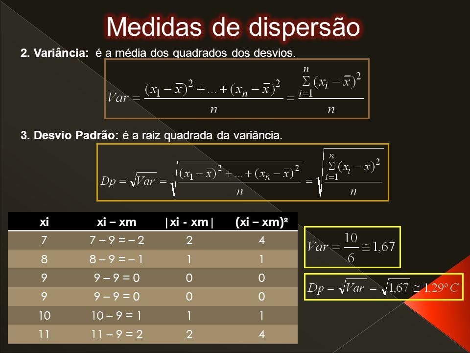 Medidas de dispersão 2. Variância: é a média dos quadrados dos desvios. 3. Desvio Padrão: é a raiz quadrada da variância.