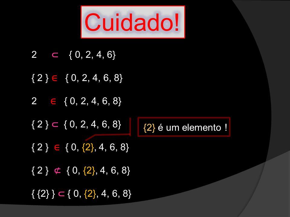 Cuidado! 2 ⊂ { 0, 2, 4, 6} { 2 } ∈ { 0, 2, 4, 6, 8} 2 ∈ { 0, 2, 4, 6, 8} { 2 } ⊂ { 0, 2, 4, 6, 8}