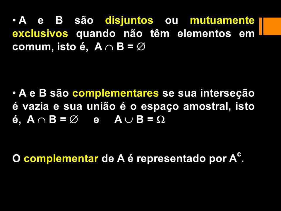 A e B são disjuntos ou mutuamente exclusivos quando não têm elementos em comum, isto é, A  B = 
