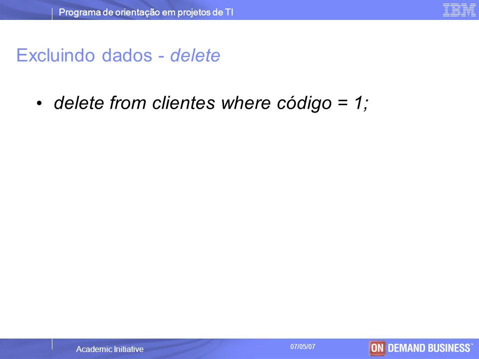 Excluindo dados - delete