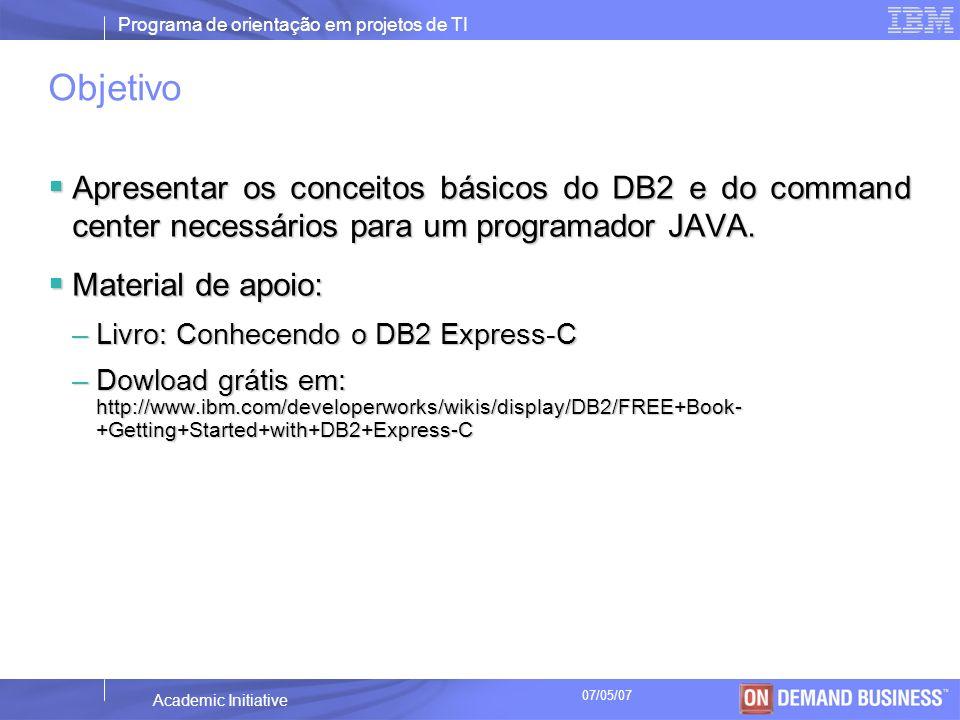 Objetivo Apresentar os conceitos básicos do DB2 e do command center necessários para um programador JAVA.