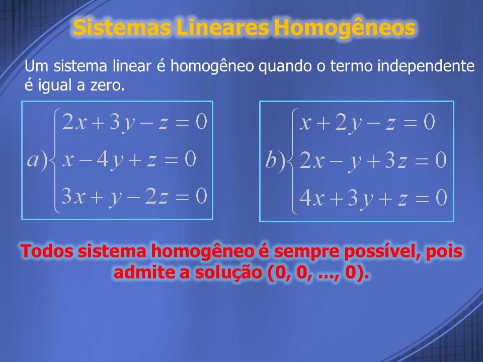 Sistemas Lineares Homogêneos
