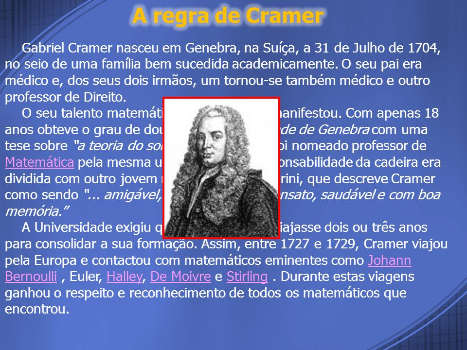 A regra de Cramer