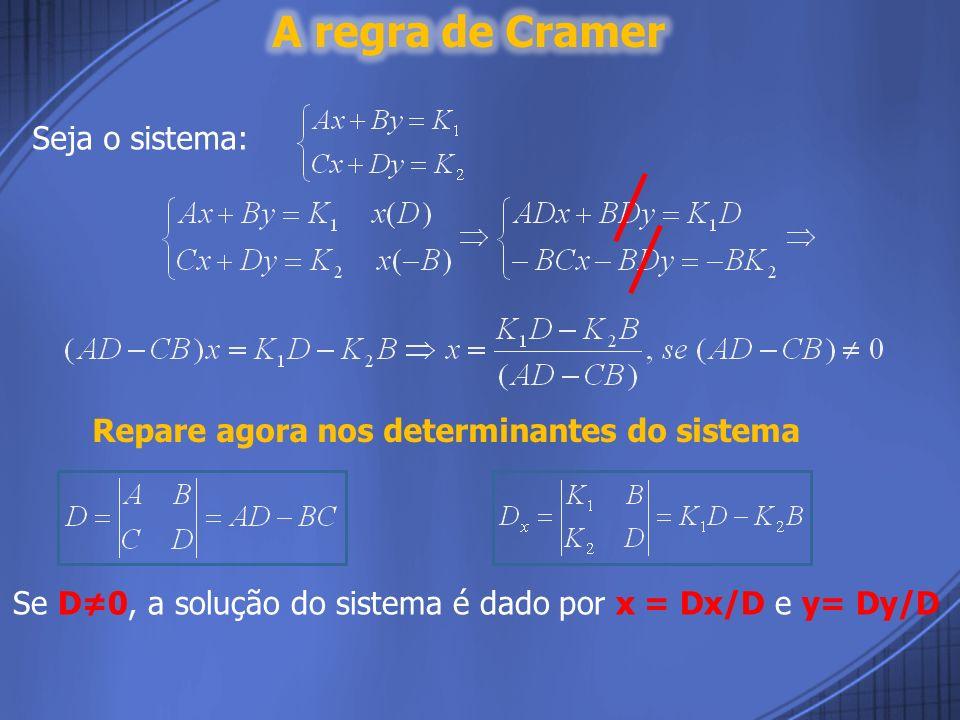 A regra de Cramer Seja o sistema:
