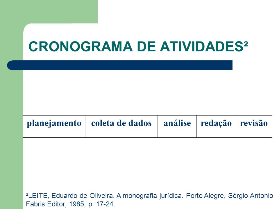CRONOGRAMA DE ATIVIDADES²