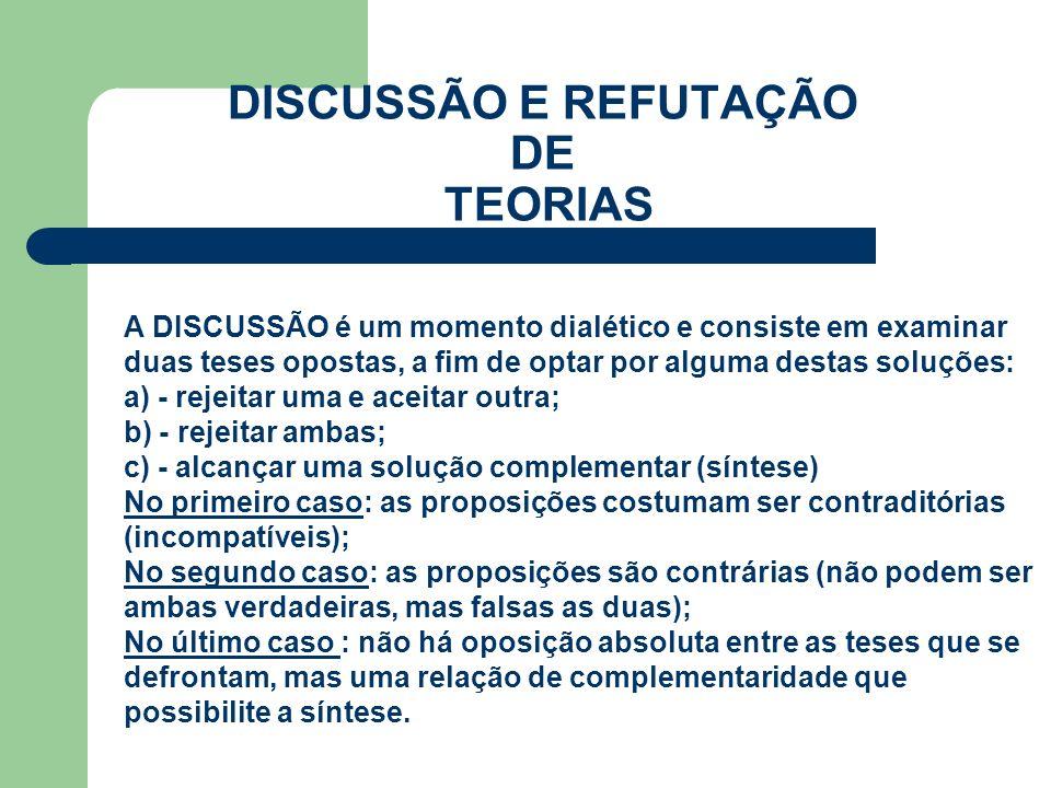 DISCUSSÃO E REFUTAÇÃO DE TEORIAS