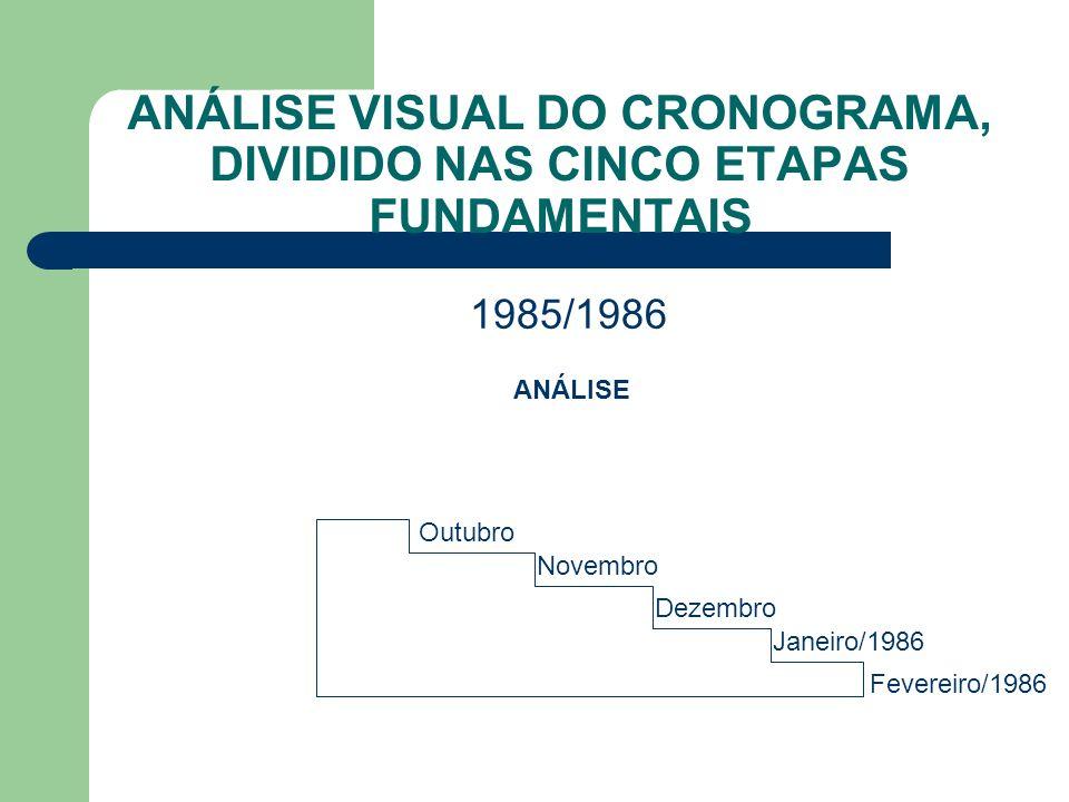 ANÁLISE VISUAL DO CRONOGRAMA, DIVIDIDO NAS CINCO ETAPAS FUNDAMENTAIS