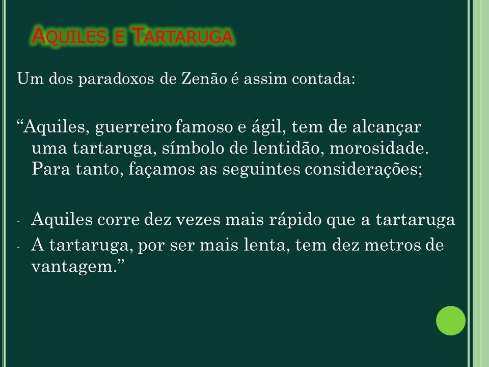 Aquiles e Tartaruga Um dos paradoxos de Zenão é assim contada: