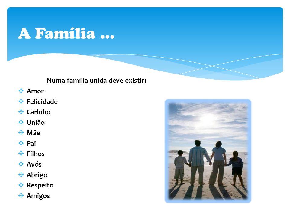 A Família … Numa família unida deve existir: Amor Felicidade Carinho