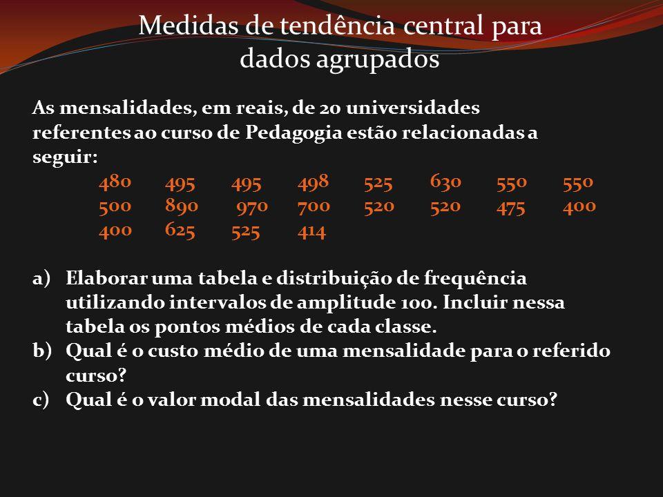 Medidas de tendência central para dados agrupados