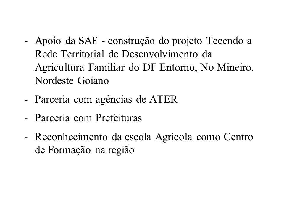 Apoio da SAF - construção do projeto Tecendo a Rede Territorial de Desenvolvimento da Agricultura Familiar do DF Entorno, No Mineiro, Nordeste Goiano