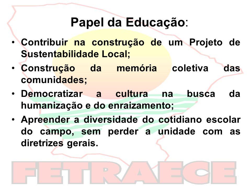 Papel da Educação:Contribuir na construção de um Projeto de Sustentabilidade Local; Construção da memória coletiva das comunidades;