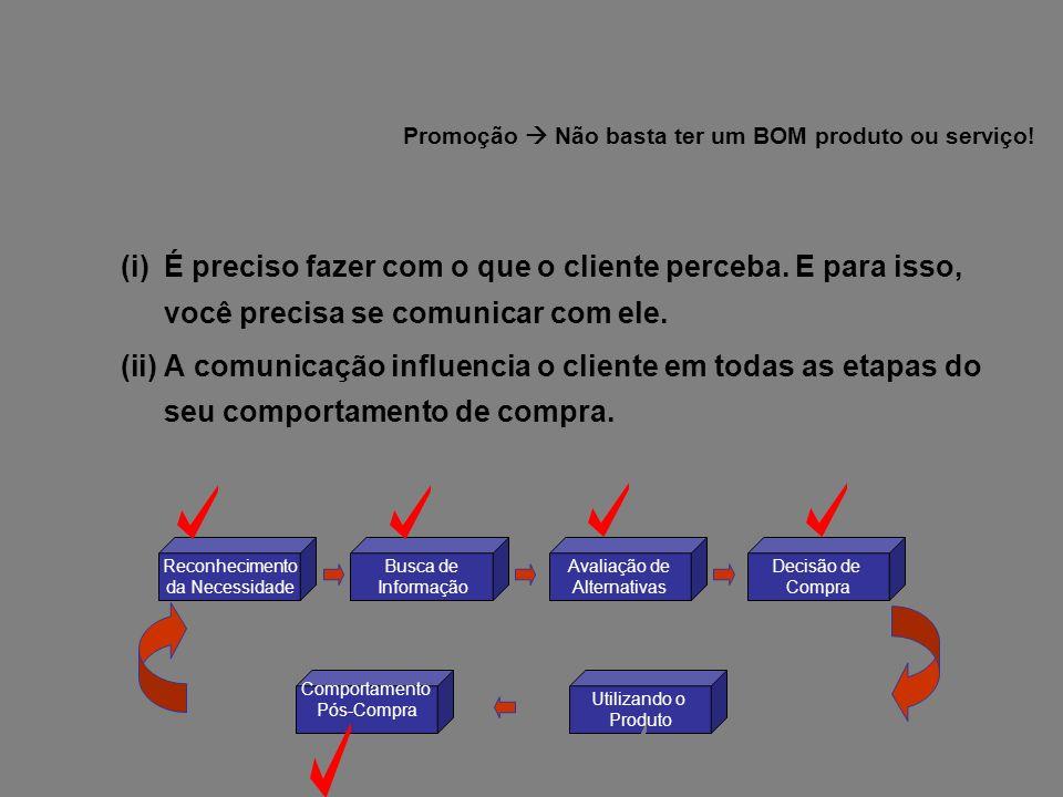 Promoção  Não basta ter um BOM produto ou serviço!