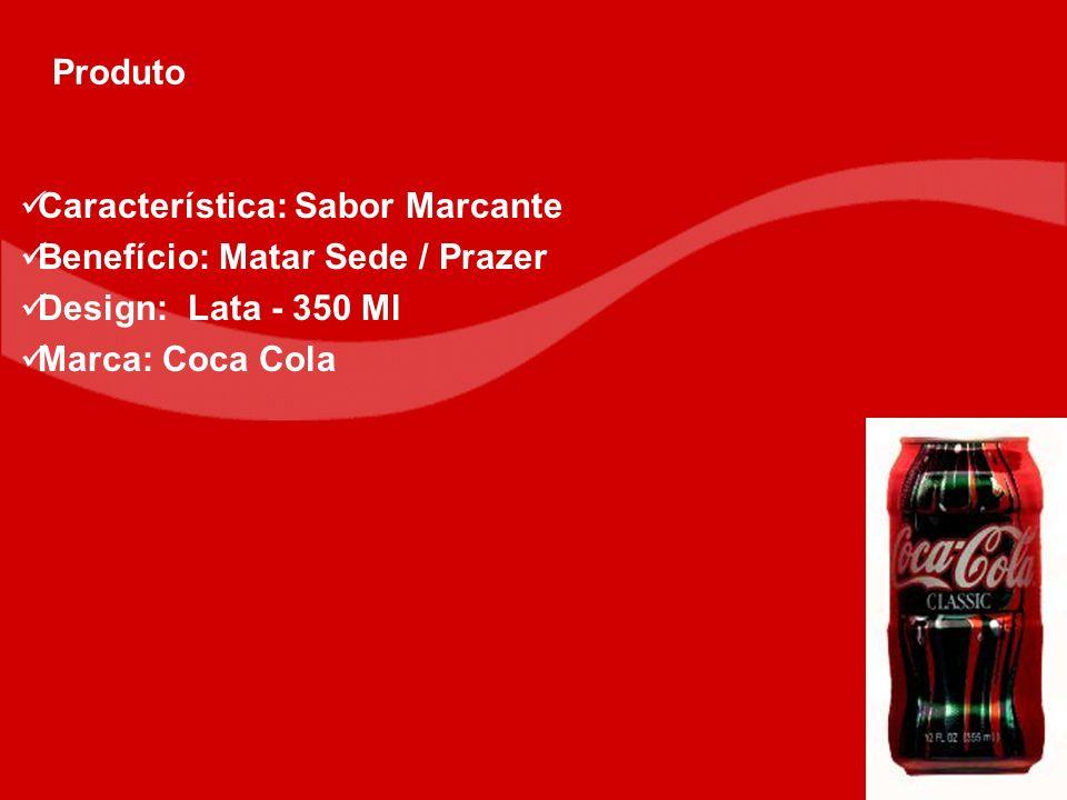 Produto Característica: Sabor Marcante. Benefício: Matar Sede / Prazer.
