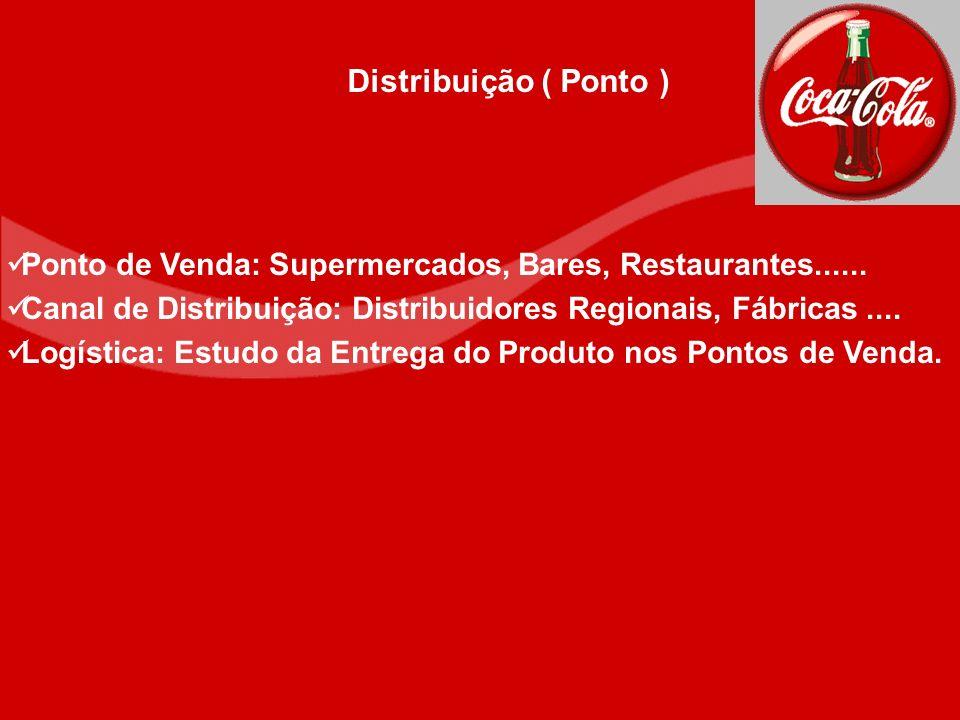 Distribuição ( Ponto ) Ponto de Venda: Supermercados, Bares, Restaurantes...... Canal de Distribuição: Distribuidores Regionais, Fábricas ....