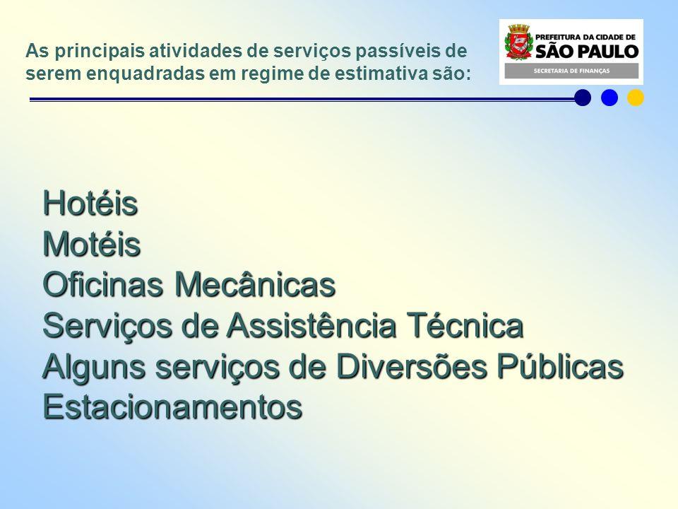 Serviços de Assistência Técnica Alguns serviços de Diversões Públicas
