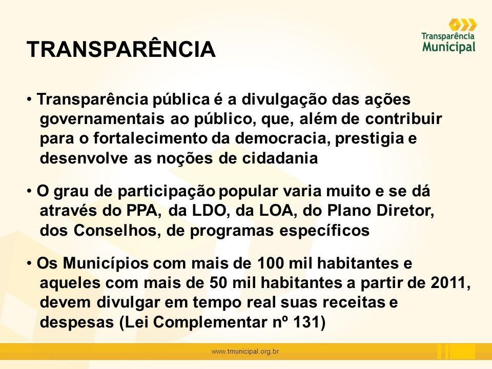 TRANSPARÊNCIA Transparência pública é a divulgação das ações